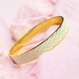 J. Crew Cream and Gold Chevron Bangle Bracelet